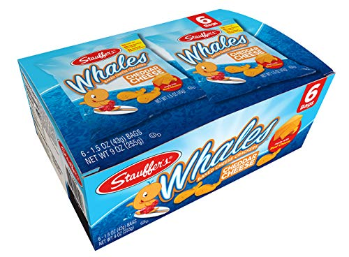 Stauffer's Baked Cheddar Whale Cheese Cracker Snack Packs, 1.5 Ounce Bags (Set of 12)