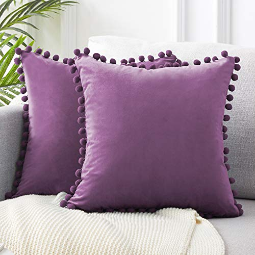 Top Finel Decorative Throw Pillow Covers 26 x 26 Inch Soft Solid Velvet Cushion Covers for Couch Sofa Bed 65 x 65 cm, Pack of 2, Purple