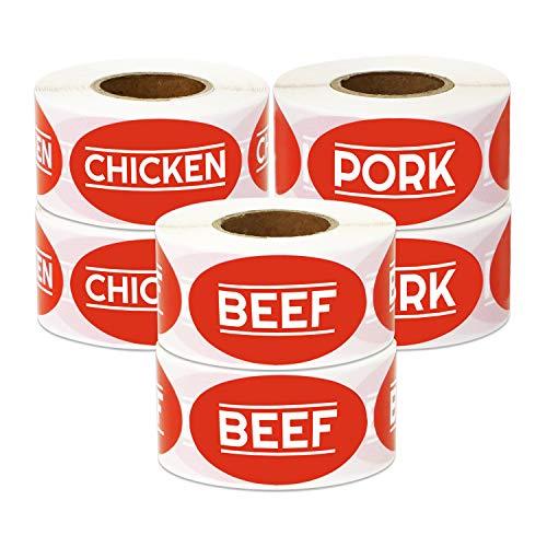 - 1800 Labels - Beef Chicken Pork Meat Sticker Bundle for Meat Markets, Supermarkets, Food Labeling or Butchers (1.75 x 1 inch, Red - 6 Rolls)