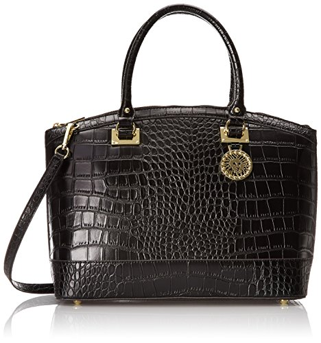Anne Klein New Recruits Croco Dome Satchel Top Handle Bag, Black, One Size
