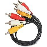 FUSSION ACUSTIC Cable 3 RCA a 3 RCA para Audio Y Video (VCR, DVD, HD-TV) 3.5 Metros de Nickel Plateado