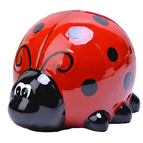 (Lovely Piggy Bank Porcelain Money Box Ladybug 02)