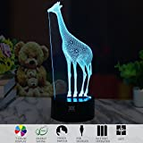 3D Illusion Animal Giraffe LED Desk Table Night Light Lamp 7 Color Touch Lamp Kiddie Kids Children Family Holiday Gift Home Office Childrenroom Theme Decoration by HUI YUAN