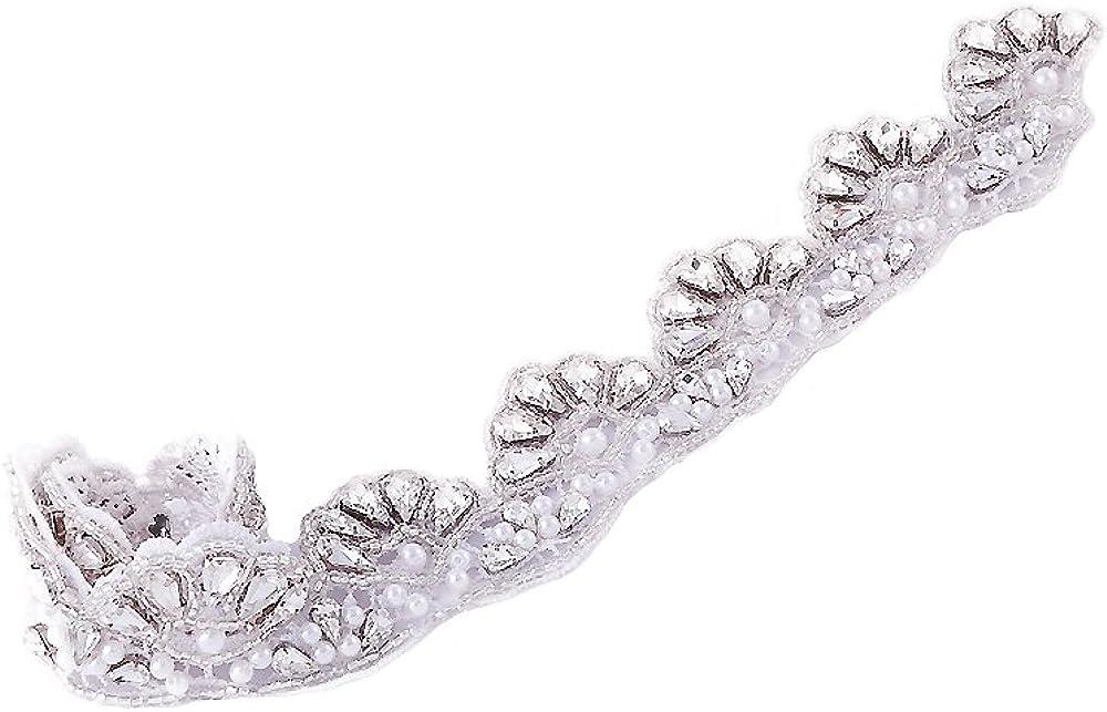 Azaleas Womens Rhinestone Wedding Dress Applique Patch for Bridal Sash Belt