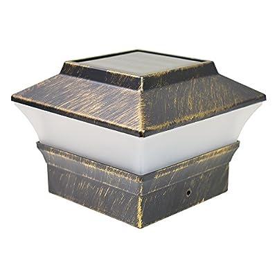 iGlow 8 Pack Vintage Bronze Outdoor 4 x 4 Solar LED Post Deck Cap Square Fence Light Landscape Lamp Lawn PVC Vinyl Wood