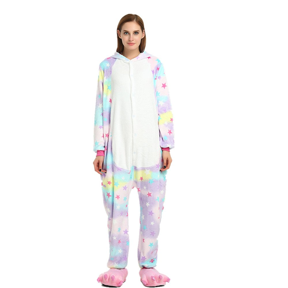 Colorfulworld Kigurumi Pijamas Unicorn Cosplay Adulto Animal Pyjamas Trajes de Noche Halloween (M, S...