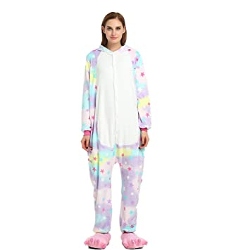 Colorfulworld Flanela Unicornio Pijamas Cartoon Animal Novedad Navidad Pijama Cosplay Pijamas (XL, Star)