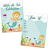 Kids Mermaid Birthday Party Invitations for Girls (20 Count with Envelopes)