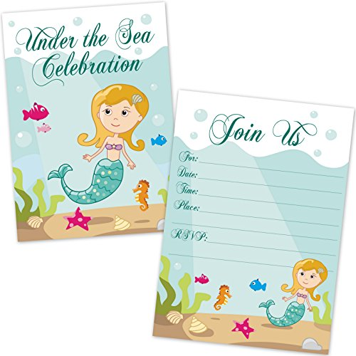 Kids Mermaid Birthday Party Invitations for Girls (20 Count with Envelopes) - Under The Sea Mermaid Party Supplies - Fill in The Blank Invites