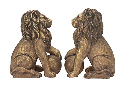 Benzara 77157 Polystone Lions Pair 24''W, 32''H, Gold Animal Statue by Benzara (Image #3)