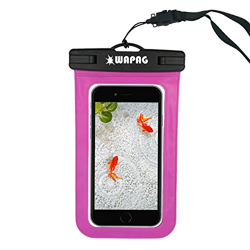 WAPAG Waterproof Bag Case Pouch for iPhone 6s, 6, 6 Plus, 5s, Samsung Galaxy s6, s6 Edge, s5, s4, Note 4, Cell Phone up to 6 inches, Dirt/Snow/Dust Proof, Fits Swimming, Kayaking, IPX8 - Magenta