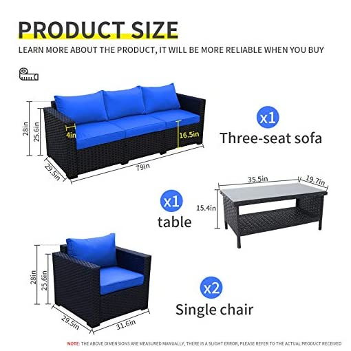 Garden and Outdoor 4 Pieces Patio PE Wicker Furniture Set Resin Rattan Outdoor Conversation Sofa Sets Sectional Couch with Table and Royal… patio furniture sets