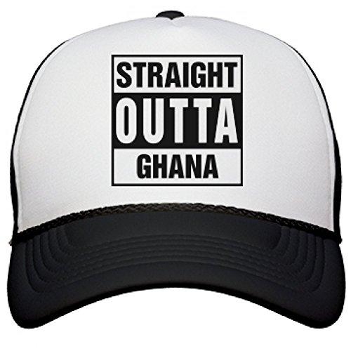 Straight Outta Ghana Trucker: Snapback Mesh Trucker Hat (Gangster Outfits For Men)