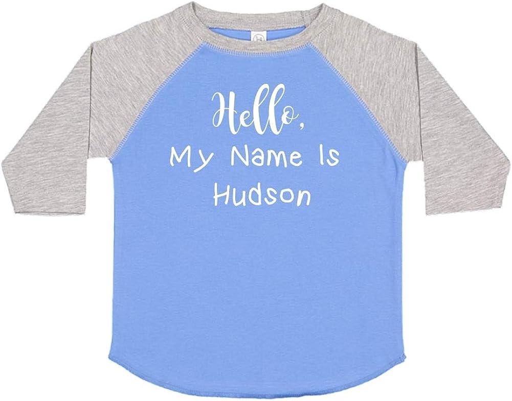 Personalized Name Toddler//Kids Raglan T-Shirt Hello My Name is Hudson