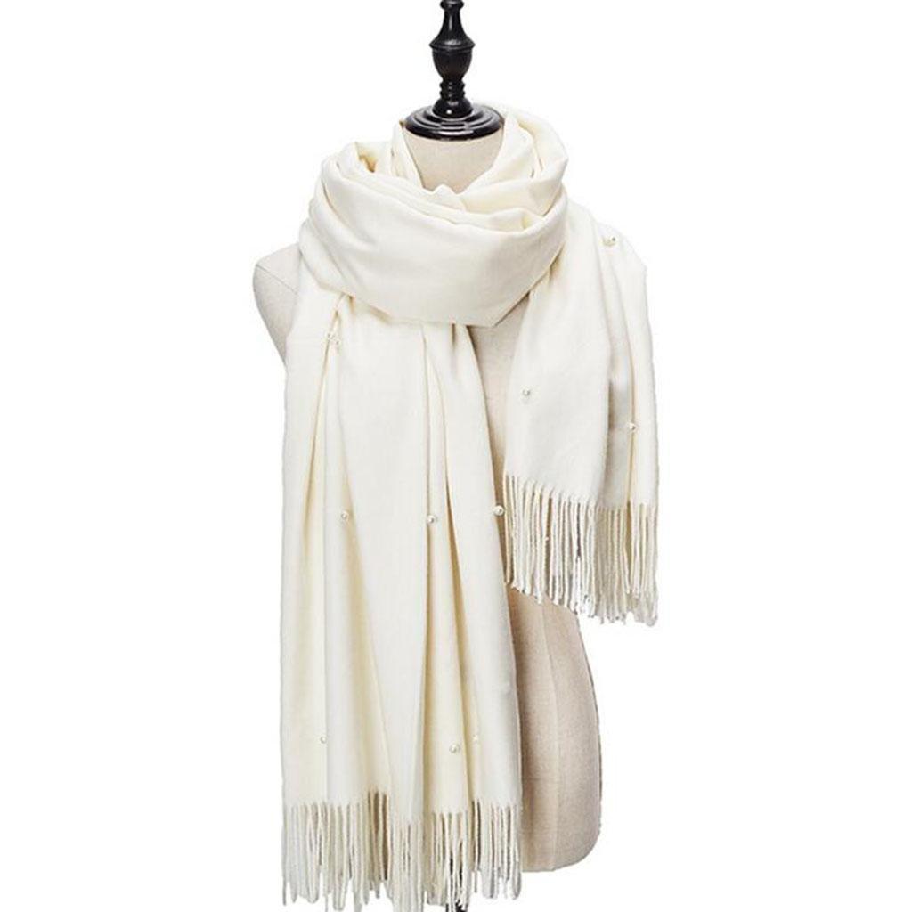 Bianca Inverno Thicker Tenere Caldo Scialle Signorina Sezione Lunga Sciarpa Doppio Uso