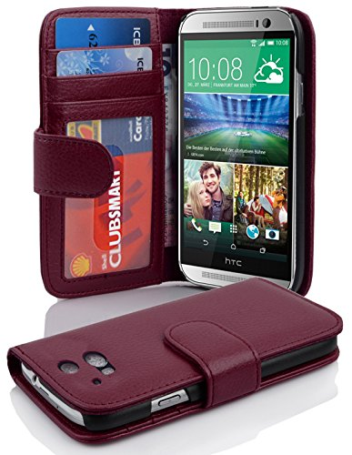 Cadorabo Book Case Works with HTC ONE M8 (2. Gen.) in Bordeaux Purple - with Magnetic Closure and 3 Card Slots - Wallet Etui Cover Pouch PU Leather - Bordeaux Frame