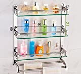 YAOHAOHAO Bathroom shelves shelving bath rooms in glass, 304 stainless steel towel rails, bath rooms, 3-storey glass shelf Shelf (Color 2, its size: 60 cm).