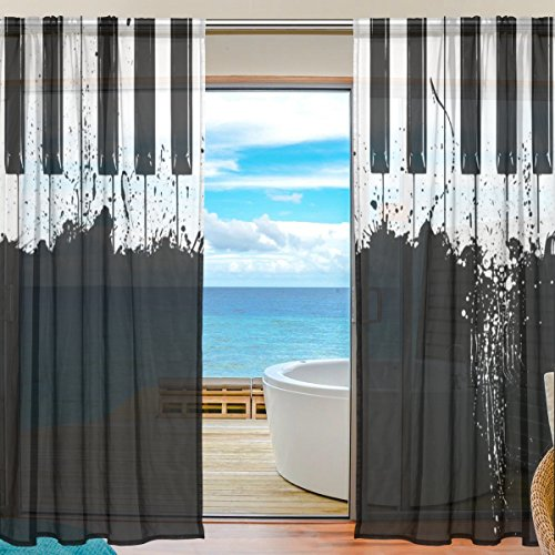 Curtain Vintage Music Piano Black And White Voile Curtain Drapes for Door Kitchen Living Room Bedroom 55x78 inches 2 Panels (Vintage Guitars Net)