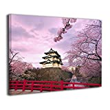 TRdY Page Japanese Castle Painted Canvas Inner Framed Wall Decor Modern Artwork for Office Home Decor Pictures Ready to Hang for Living Room Bathroom