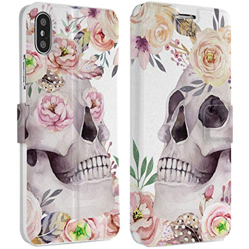 Wonder Wild Pink Skull iPhone Wallet Case X/Xs Xs Max Xr 7/8 Plus 6/6s Plus Card Holder Accessories Smart Flip Hard Design Protection Cover Santa Muerte Anatomy Floral Bones Death Spooky Vanitas (6 Muerte Iphone Santa Case)