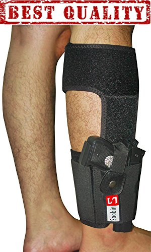SoobinS Ankle Holster for Concealed Carry - Neoprene Concealed Carry Leg Holster - Elastic Wrap with Magazine Pocket for Ruger Lcp, Remington, Glock, Sig Sauer, Smith & Wesson, Savage, Springfield.