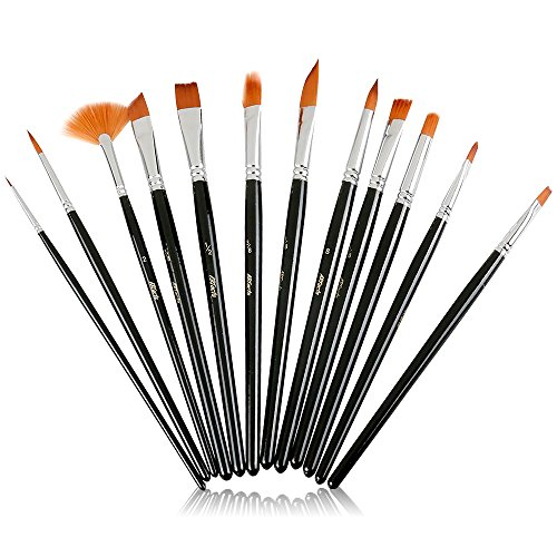 ARTacts -Professional Artist Paint Brush Set for Watercolor, Acrylics, Oil & Face Painting - A Set of 12 Premium Quality Brushes Also Great for Kids and Adults ()