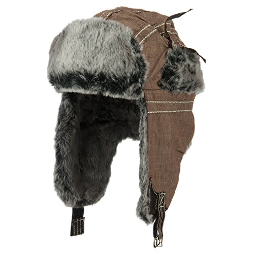 Chambray Faux Fur Trooper Hat - Brown OSFM
