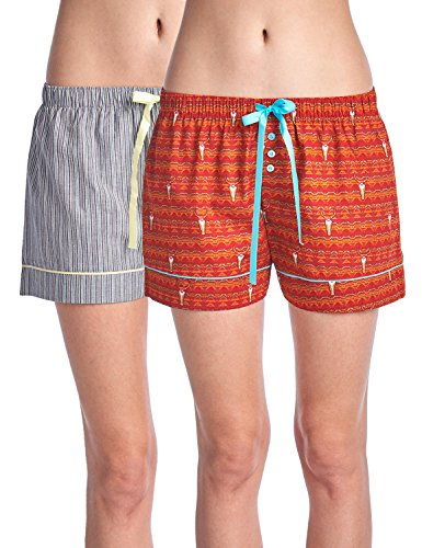 Casual Nights Women's 2 Pack Cotton Woven Lounge Boxer Shorts - Cow Skull Fair Isle/Stripe 48 - Large