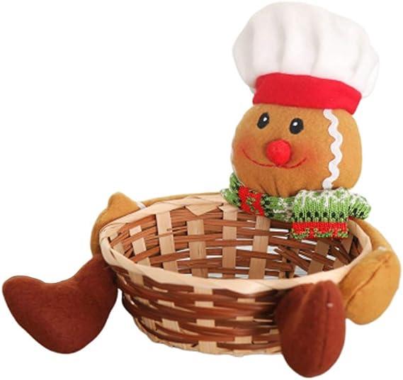 Tama/ño L Amosfun Caja de almacenamiento de dulces Canasta de almacenamiento de Navidad con soporte de regalo de Navidad para decoraci/ón