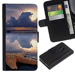For Samsung Galaxy S3 MINI NOT REGULAR! I8190 I8190N,S-type® Clouds Sun Rain Sea Nature - Dibujo PU billetera de cuero Funda Case Caso de la piel de la bolsa protectora