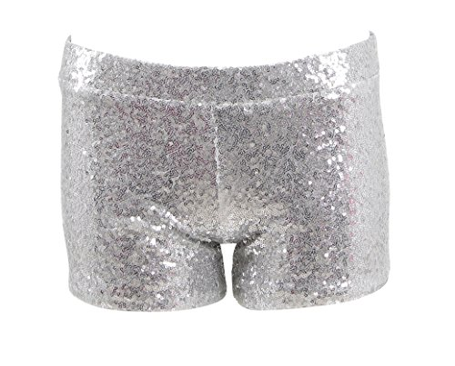 Women Sexy Hot Glitter Sequin Shorts Summer Club Wear Multi-Color (US Women-S, Silver)]()