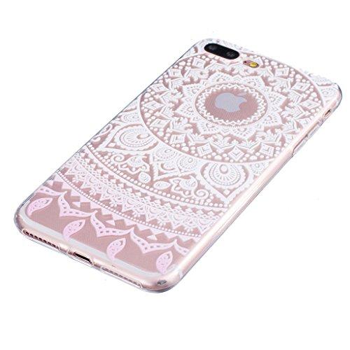 "Hülle iPhone 7 Plus, IJIA Ultra Dünnen Rosa Gradient Spitze Blumen TPU Weich Silikon Handyhülle Schutzhülle Handyhüllen Schale Cover Case Tasche für Apple iPhone 7 Plus (5.5"") + 24K Gold Aufkleber"