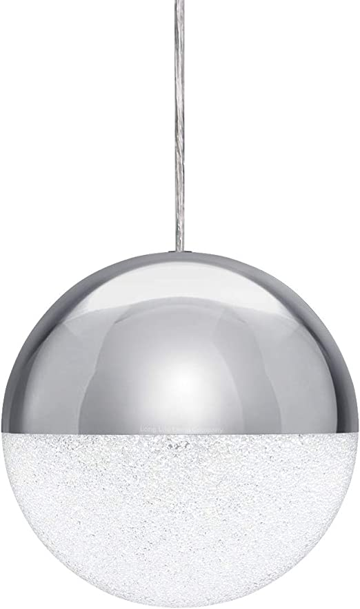 Globe Glass Shade Pendant Ceiling Light Round Hanging Chandelier Chrome Ball Led 12w Cool White M0099 Amazon Co Uk Lighting