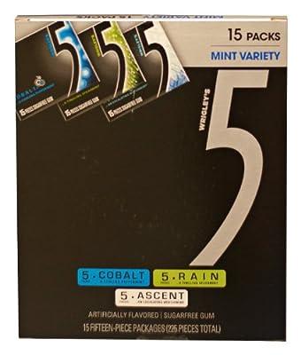 Wrigley's 5 Sugar Free Gum Mint Variety Box, 15 Count