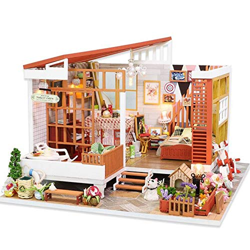 Yzgjrn DIY Model House kit Wooden Dolls Handcraft Assembled Villa Model Christmas Birthday,Including House with Accessories, Craft Toys, A