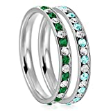 3mm Stainless Steel Crystal Channel Eternity Wedding Band Stackable Ring Set, Green Emerald & Teal Aquamarine Color, Size 9