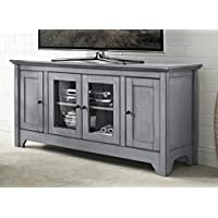 WE Furniture 52 Wood TV Media Stand Storage Console - Antique Grey