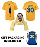 iSport Gifts Steph Curry Jersey Style T-shirt Kids or Men Basketball Curry T-shirt Youth Gift Set ✓ Premium Quality ✓ GIFT PACKAGING Basketball Backpack ✓ (Adult Large, Curry T-Shirt Gift Set)