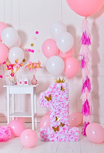 Baocicco 3X5ft Girls 1st Birthday Decorations Indoor Backdrop Cotton Polyester Photography Background Pink And White Balloons