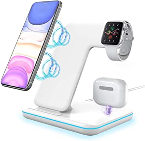 3 in 1 Wireless Charger, POWERGIANT Charger Stand 15W Qi Fast Charging Station for iPhone, iWatch 5 4 3 2 1, Airpods Pro 2 1 Compatible with iPhone 12 11 XS Max XR X 8 Plus Samsung S10 S9 S8(White)