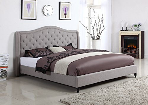 Home Life Cloth Light Grey Silver Linen Curved Hand Diamond Tufted and Nailed Headboard 53