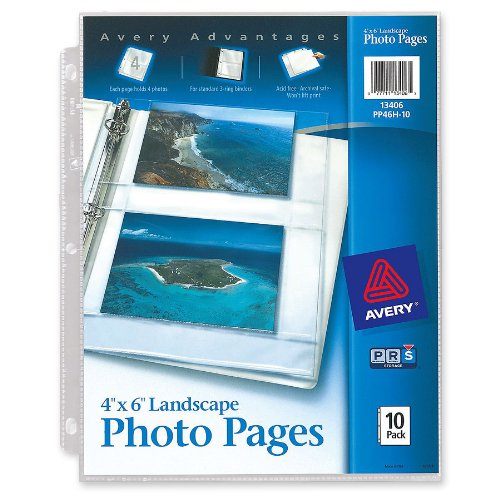Avery Horizontal Photo Pages, Acid Free, 4 x 6 Inches, Pack of 10 (13406) (Refill Sleeves)