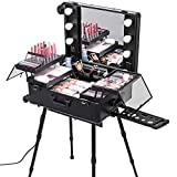 Happybuy Rolling Makeup Case 28''x21''x54'' with LED Light Mirror Adjustable Legs Lockable Train Table Studio Artist Cosmetic