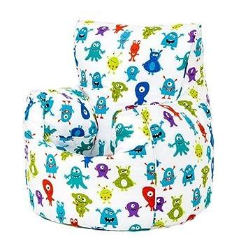 Monsters Aliens Print Childrenu0027s Ready Filled Fun Bean Bag Chair Seat Kids  Toddler Furniture