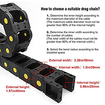 LMioEtool R55 25mm x 38mm(Inner H x Inner W) Black Plastic Yellow Dot Cable Wire Carrier Drag Chain 1M Length for CNC, with End Connectors - Bridge Type (openable): Industrial & Scientific