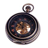Skeleton Pocket Watch Chain Steampunk Mechanical Hand Wind Half Hunter Vintage Antique Look - PW32