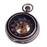 Skeleton Pocket Watch Chain Steampunk Mechanical Hand Wind Half Hunter Vintage Antique Look - PW32