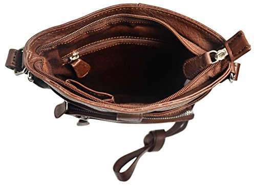 With Crossbody Leather Brown zippers Regular or Bag Women's Fashion Genuine Metal Fxvn6wwz