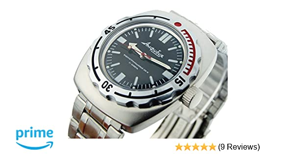 Amazon.com: Vostok Amphibian 090916 Russian Watch for Scuba Diving Mechanical Self-winding Stainless Steel Black: Vostok: Watches