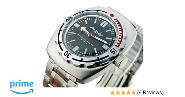 Amazon.com: Vostok Amphibian 090916 Russian Watch for Scuba Diving Mechanical Self-winding Stainless Steel Black: Vostok: Watches